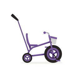 Tricycle with push handle kids bicycle vector
