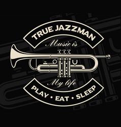 Trumpet on dark background vector