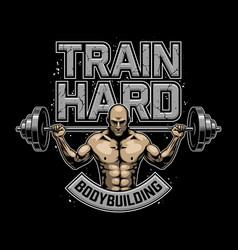 Vintage bodybuilding logo vector