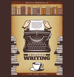 vintage colored writer poster vector image