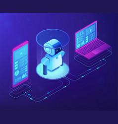 Wifi controlled robotics concept isometric vector