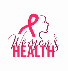 womens health logo with pink ribbon sign and woman vector image