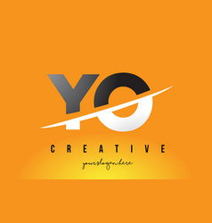 yo y o letter modern logo design with yellow vector image