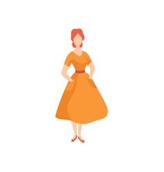 Young beautiful woman wearing vintage dress retro vector