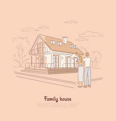 Young couple planning for dream home family vector