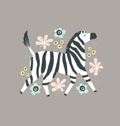 zebra flat hand drawn poster vector image