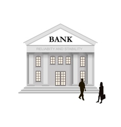 Bank building in classical style with columns and vector image