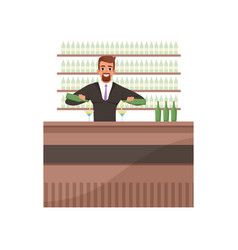 cheerful bartender preparing cocktails at the bar vector image
