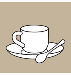 Cup With Teaspoon vector image vector image