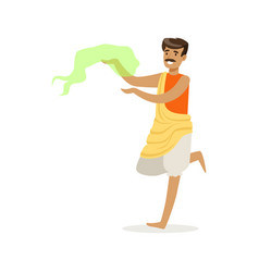 indian man in national costume performing national vector image