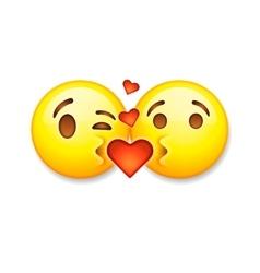 Kissing emoticons Valentines day emoticon icon vector image vector image