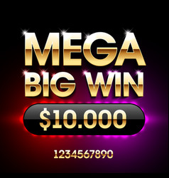 mega big win banner for lottery or casino games vector image vector image