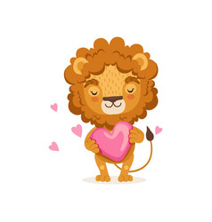 adorable baby lion cartoon standing with big pink vector image vector image
