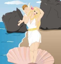 aphrodite and cupid vector image vector image