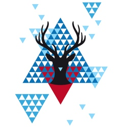 Christmas deer with geometric pattern vector image