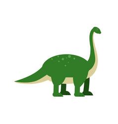cute cartoon green brachiosaurus dinosaur vector image