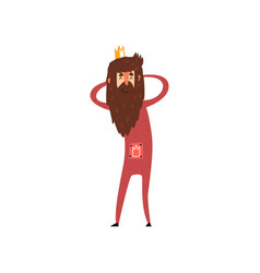 funny bearded king character holding his head vector image vector image