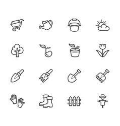 garden element black icon set on white background vector image