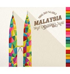 Travel Malaysia landmark polygonal monument vector image vector image