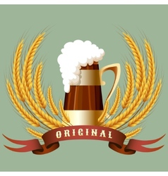 Beer mug cereal ears and banner vector image
