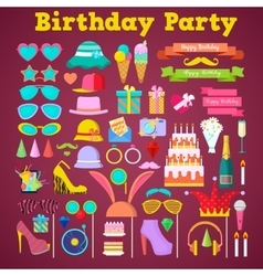 Birthday Party Decoration Set with Photo Booth vector image vector image