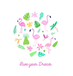 childish tropical design with cute flamingos palms vector image vector image