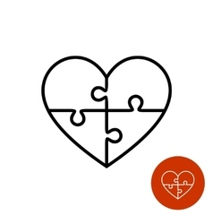 Heart puzzle linear logo divided on four vector image