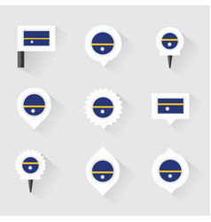 nauru flag and pins for infographic and map design vector image vector image
