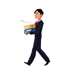 young businessman going somewhere carrying vector image vector image