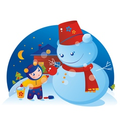 A little girl and snowman vector image vector image
