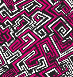 abstract pink maze seamless pattern with grunge vector image