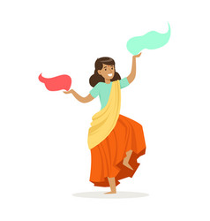 beautiful indian woman in a colorful sari dancing vector image vector image