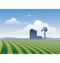 farm with windmill vector image vector image