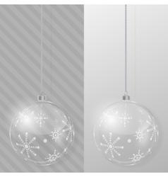 Glass Christmas ball Design template vector image