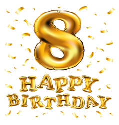 gold balloon font number 8 made of realistic vector image