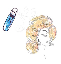 Hairdresser fixing woman hair with hairspray vector image