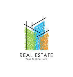 abstract building logo design template vector image