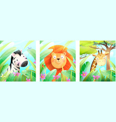 african zoo or safari animals posters for kids vector image