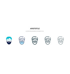 Aristotle icon in different style two colored vector