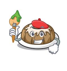 Artist bundt cake character cartoon vector