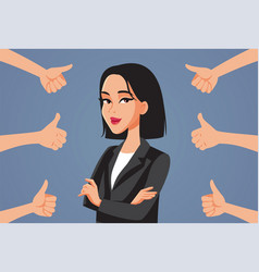 Asian business woman receiving thumbs up vector
