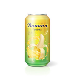 Banana juice drink in aluminum can realistic vector