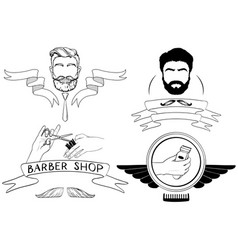 barber shop silhouettes and icons set vector image