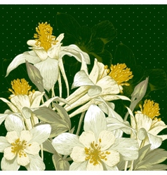 Beautiful Background with White Blooming Flowers vector