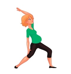 beautiful pregnant woman in various poses of yoga vector image
