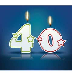 Birthday candle number 40 vector image