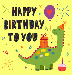 birthday card with cute dinosaur vector image