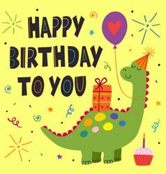 birthday card with cute dinosaur vector image