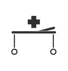 Black icon on white background medical stretcher vector