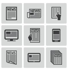 black newspaper icons set vector image